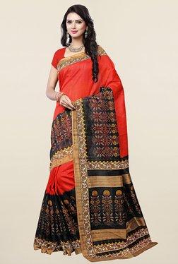 Ishin Orange & Black Printed Art Silk Saree