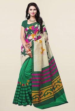 Ishin Green & Beige Printed Art Silk Saree