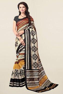 Ishin Beige Printed Art Silk Saree