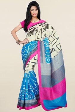 Ishin Cream & Blue Printed Art Silk Saree
