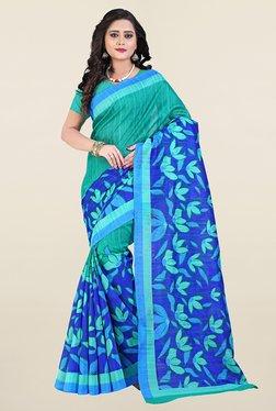 Ishin Green & Blue Printed Art Silk Saree