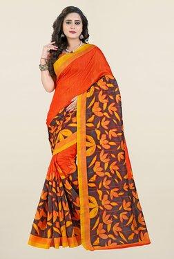Ishin Orange & Brown Printed Art Silk Saree