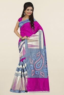 Ishin Pink & Off White Printed Art Silk Saree