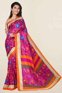 Ishin Pink Floral Print Art Silk Saree