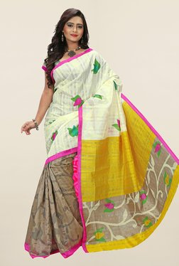 Ishin Beige & Off White Printed Art Silk Saree
