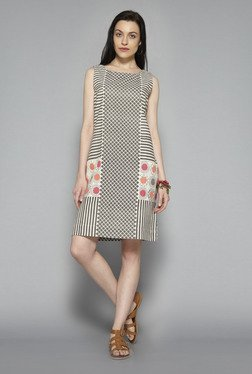 Bombay Paisley by Westside Off White & Taupe Shift Dress