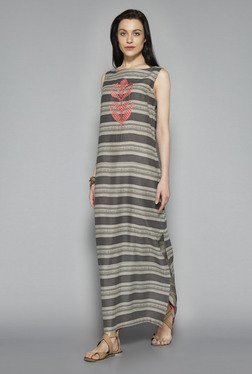 Bombay Paisley By Westside Grey & Off White Maxi Dress