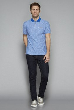 Westsport by Westside Blue Textured Slim Fit T Shirt
