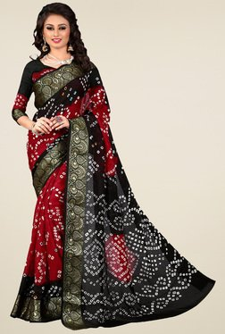 Nirja Creation Red & Black Silk Saree
