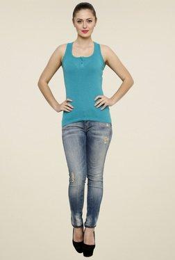 Renka Aqua Blue Slim Fit Tank Top