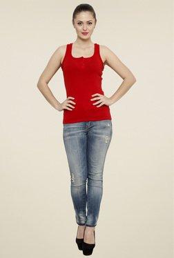 Renka Red Slim Fit U-Neck Tank Top