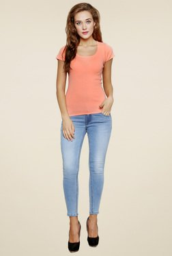 Renka Peach Short Sleeves Round Neck Top
