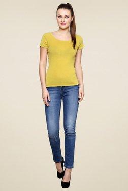 Renka Mustard Round Neck Solid Top