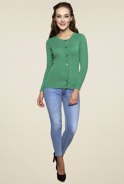 Renka Green Regular Fit Full Sleeves Top