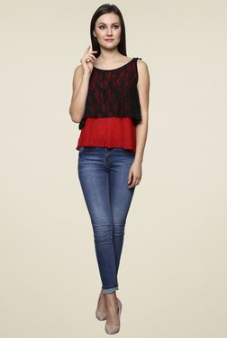 Renka Red Sleeveless Regular Fit Top
