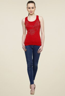 Renka Red Scoop Neck Cotton Tank Top