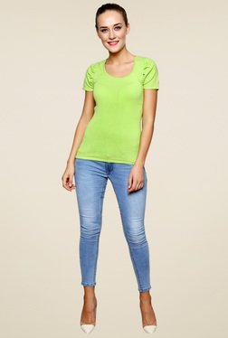 Renka Lime Green Slim Fit Round Neck Top