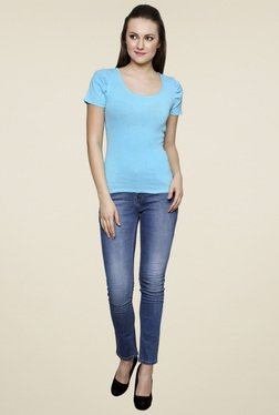Renka Blue Short Sleeves Round Neck Top
