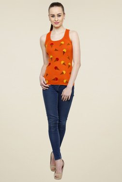 Renka Orange Scoop Neck Tank Top