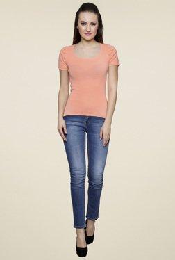 Renka Peach Round Neck Slim Fit Top