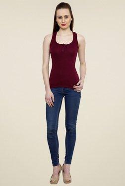 Renka Burgundy Slim Fit Tank Top