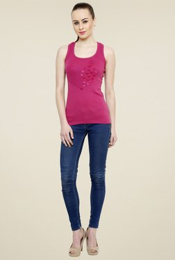 Renka Pink Slim Fit Scoop Neck Tank Top