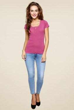 Renka Pink Round Neck Solid Top