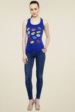 Renka Royal Blue Scoop Neck Tank Top