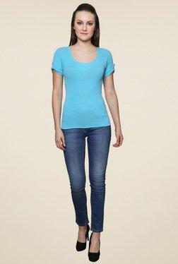 Renka Blue Round Neck Slim Fit Top