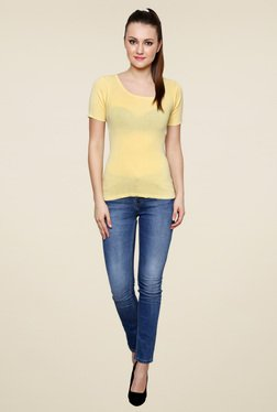 Renka Yellow Round Neck Slim Fit Short Sleeves Top