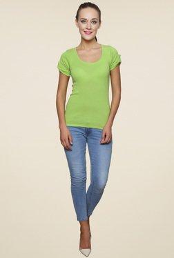 Renka Green Round Neck Slim Fit Top