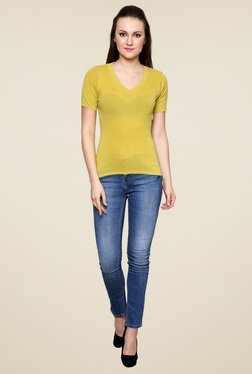 Renka Yellow Slim Fit Short Sleeve Top