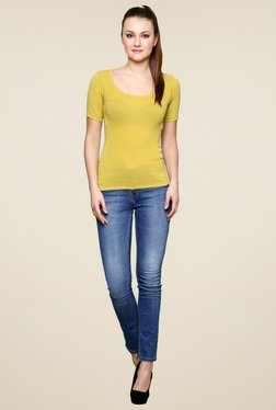 Renka Yellow Round Neck Slim Fit Top