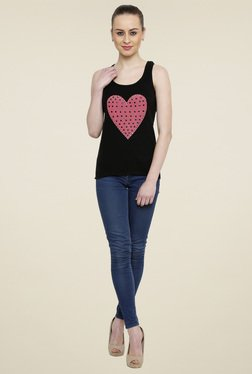 Renka Black Slim Fit Cotton Scoop Neck Tank Top