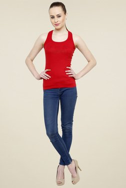 Renka Red Slim Fit Scoop Neck Tank Top