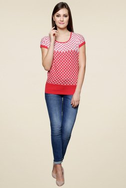 Renka Red Printed Regular Fit Cap Sleeves Top