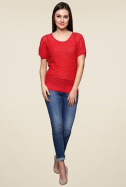 Renka Red Short Sleeves Round Neck Top