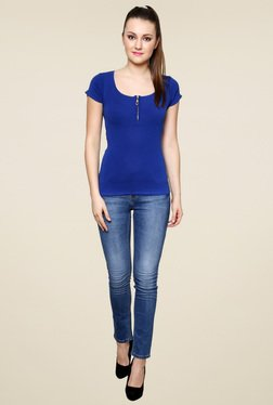 Renka Blue Slim Fit Short Sleeves Top