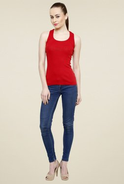 Renka Red Scoop Neck Slim Fit Tank Top