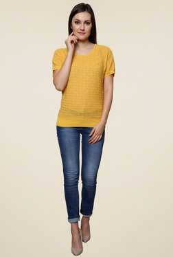 Renka Yellow Short Sleeves Round Neck Top