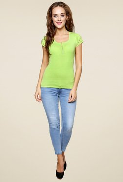 Renka Green Slim Fit Short Sleeves Top