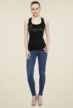 Renka Black Sleeveless U-Neck Tank Top