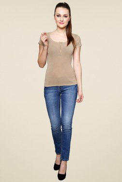 Renka Beige Slim Fit Short Sleeves Top