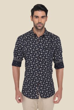 JadeBlue Navy Cotton Floral Printed Shirt