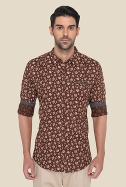 JadeBlue Brown Cotton Floral Printed Shirt