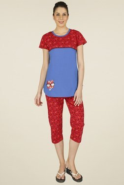 Red Ring Red & Blue Cotton Night Suit