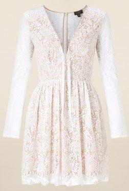 Lipsy Beige Lace Dress