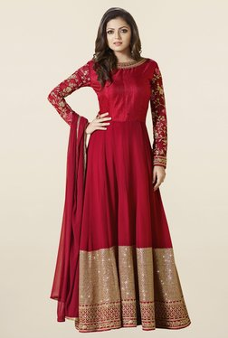 Touch Trends Red Embroidered Georgette Dress Material