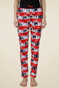 Red Ring Multicolor Cotton Track Pant