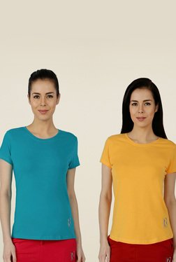 Red Ring Blue & Yellow Cotton Sports T-Shirt (Pack Of 2)